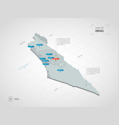 Isometric israel map with city names vector
