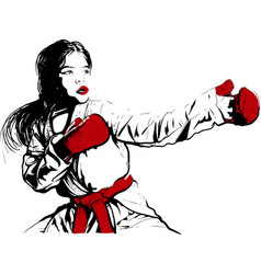 karate girl before fight vector image