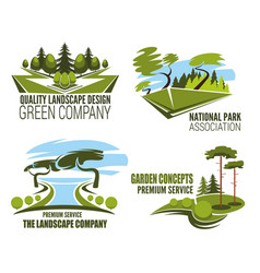 Landscape design company icon green tree nature vector