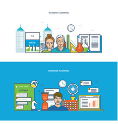Learning and modern education planning analysis vector