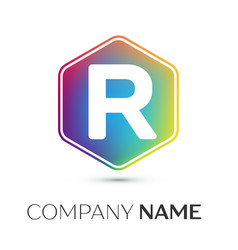 letter r logo symbol in the colorful hexagonal on vector image