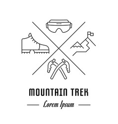 Line banner mountain trek vector