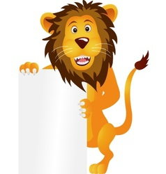 lion with blank sign vector image