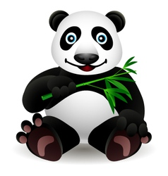 little cartoon panda and bamboo vector image