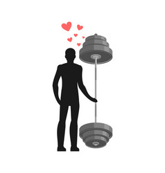 lover fitness man and barbell hold on to hands vector image