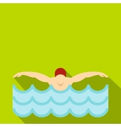 Man in red cap in swimming pool icon flat style vector