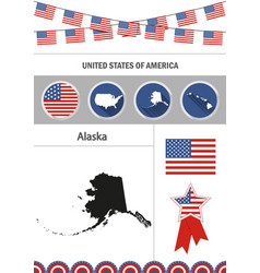 map of alaska set of flat design icons vector image