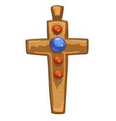medieval golden cross with precious stones vector image