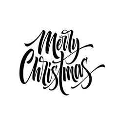 merry christmas hand drawn calligraphy vector image