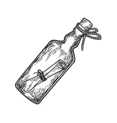 message in bottle engraving vector image