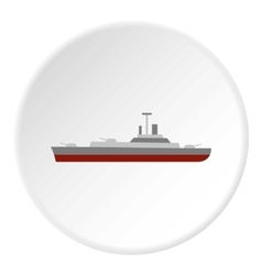 Navy warship icon flat style vector