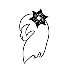 outline head woman flower romance vector image
