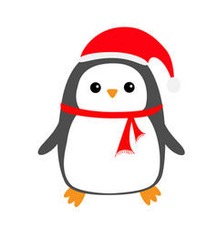 Penguin bird on snowdrift red santa claus hat vector