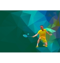 Polygonal professional badminton player on vector image
