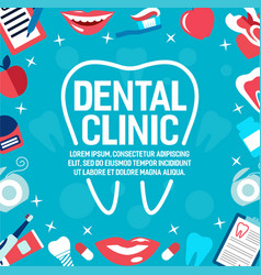 Poster dental clinic tooth and smile vector