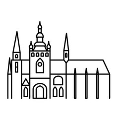 Prague castle simple linear black outline icon vector