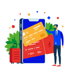 put plastic cards and tickets in the mobile app vector image
