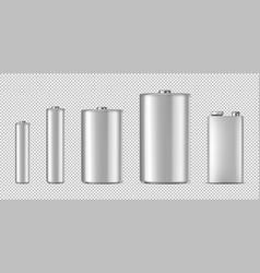 Realistic white alkaline batteriy icon set vector