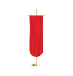 Red silk banner hanging on golden stick pole vector
