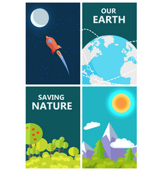 save earth poster with life on planet and space vector image
