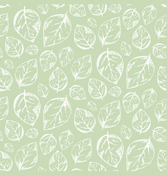 Scratched outline white leaves on green pattern vector