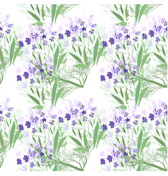 Seamless pattern with summer flowers and leaves on vector