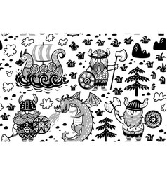 Seamless pattern with vikings in monochrome style vector