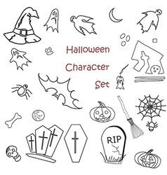 Set of halloween traditional symbols vector image