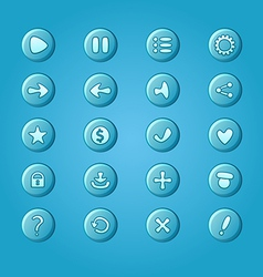 Set of mobile bright blue elements for UI Game vector