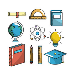 School utensils to education study background vector image set school utensils to education knowledge vector image voltagebd Images