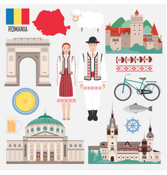 Set with romanian traditional objects symbols vector
