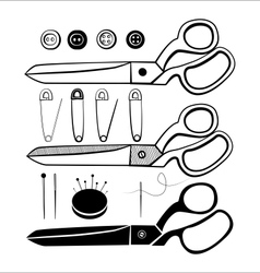 Sewing kit set vector