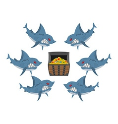 Sharks and prey Chest of gold and an angry fish vector