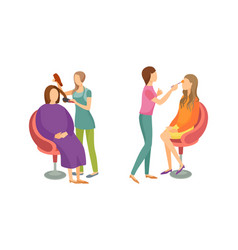spa salon hair styling stylists icons set vector image