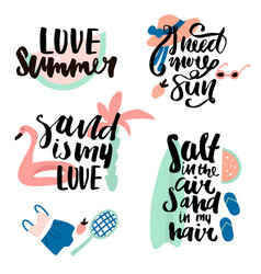 Summer prints with hand lettering quotes ready vector