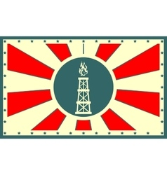 sun rays backdrop with gas derrick icon vector image