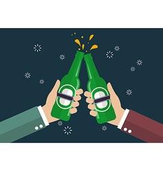 Two businessmen toasting bottle beer vector