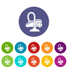 vacuum cleaner icons set color vector image