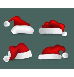 Various Christmas caps collection vector image