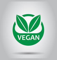 vegan label badge icon in flat style vegetarian vector image