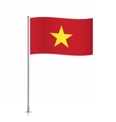 Vietnam flag waving on a metallic pole vector