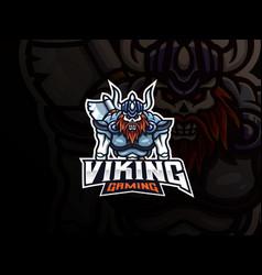 viking skull mascot sport logo design vector image