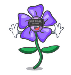 Virtual reality periwinkle flower mascot cartoon vector