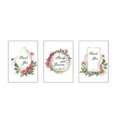 wedding floral invite invtation card design vector image