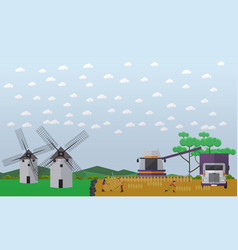 Wheat harvesting concept in vector