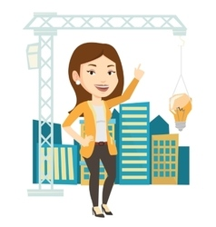 Woman having business idea vector