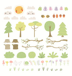 Woodland landscape clipart elements set isolated vector