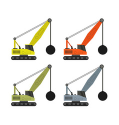 Wrecking ball crane icon in on white background vector