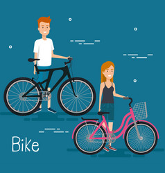 young people with bicycle vector image