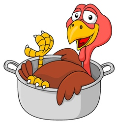 Cute Turkey in the saucepan vector image vector image